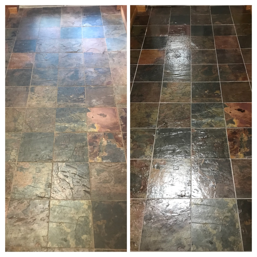 Slate tile and grout restoration & sealing Hamilton